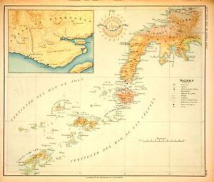 PHILIPPINE-ISLANDS-MINDANAO-ZAMBOANGA-BASILAN-1899-Original-Antique-Map