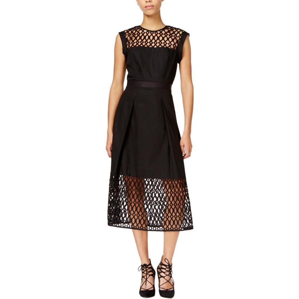 RACHEL ROY  Fit & Flare Lace Dress Größe 2 XS schwarz Pockets 100% Cotton