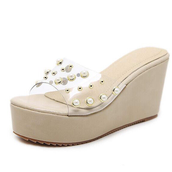 Sandali eleganti sabot zeppa ciabatte 9 beige comodi  simil pelle eleganti 9812