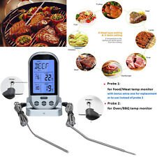 Digital Wireless Remote Dual 2 Probes Cooking Food Meat Oven BBQ Thermometer USA