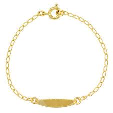 "18k Gold Plated Oval Identification Tag ID Kids Baby Bracelet 5"""