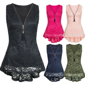 Summer-Women-Floral-Lace-Zip-Up-Tank-Top-Sleeveless-Slim-Vest-Pure-T-Shirts-New