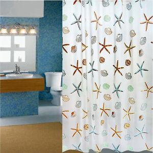 Bathroom shower curtains mildew waterproof curtains bath mat ocean star curtain ebay - Muffa nella doccia ...