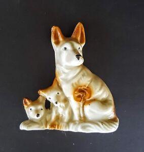 Blonde German Shepherd Dogs Figurine 4 Porcelain Mom And Puppies