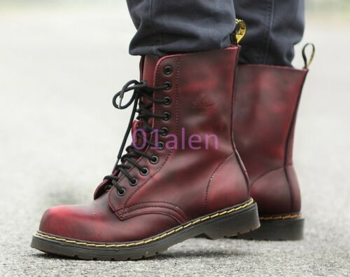 Retro Rock Military Shoes Heels Combat Ups Boots Mens Low Chic Gothic Punk Lace qXgAfOw