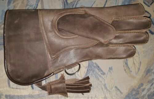 """Copper Brown New Falconry Glove Double Skinned Nubuck Leather 12/"""" Long 2 Layer"""