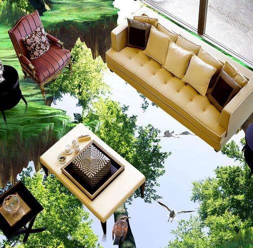 3D Baum Grün 5 Fototapeten Wandbild Fototapete Tapete Familie DE Lemon