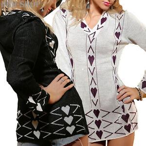 Zielsetzung Damen Longpullover Langarm V-ausschnitt Pullover Pulli Gr. 36 Schwarz - Weiß