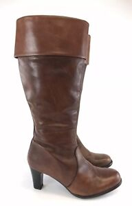 Brown-Leather-LOVE-MY-SOUL-Knee-High-Zip-Up-Boots-Uk8-EU41-Distressed-Booties