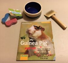 Lot of Guinea Pig Rabbit Rat Supplies Food/Water Dish/Bowl, Chew, Brush, & Book