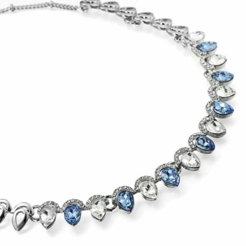 YK13 DAINTY LITTLE BLUE AND CLEAR GEMS NECKLACE IN SILVER FINISH