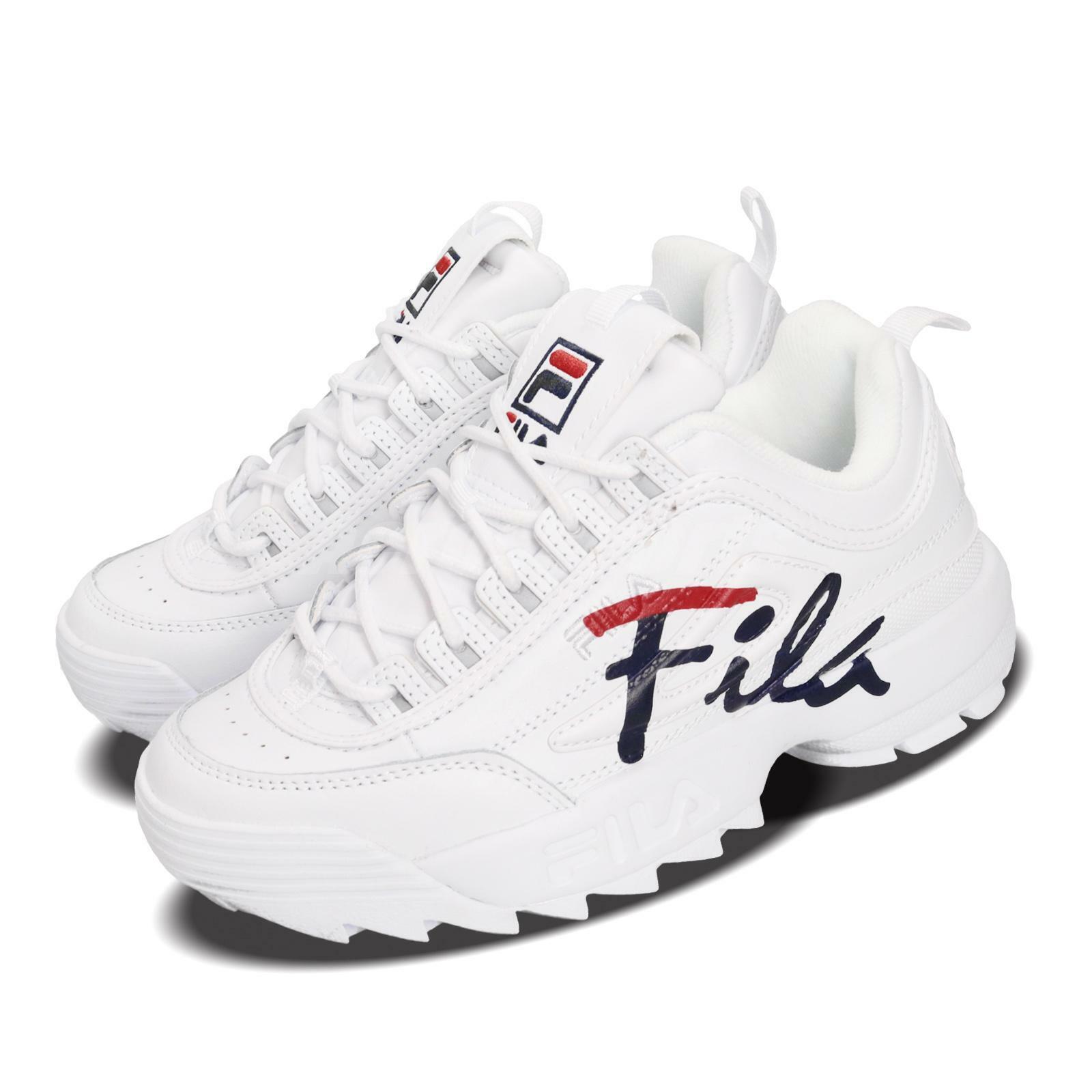 Fila Disruptor II  Script Logo blancoo Rojo Azul Marino Mujeres Zapato de correr Lifestyle Grueso  Las ventas en línea ahorran un 70%.
