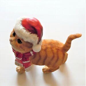 Cute Kitten Resin Figurine Wearing Santa Cap & Scarf Plastic EUC