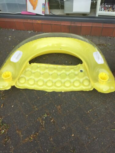 Inflatable Pool Chair Swimming Cup Holder Yellow