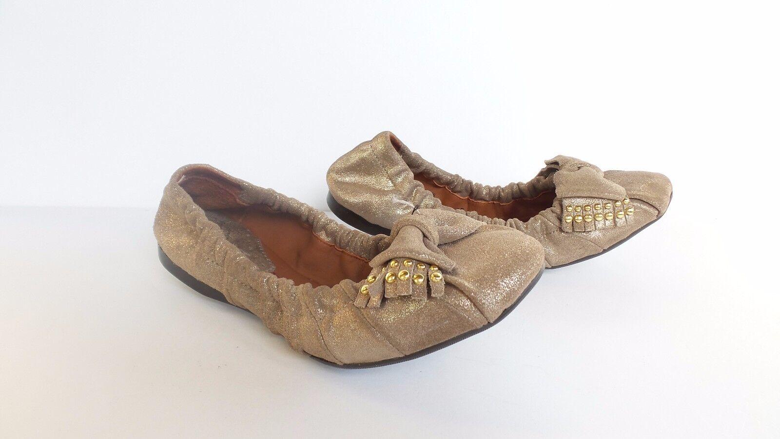 NEW Johnston & Murphy Women's Flexible Ballet Flats LEATHER Elastic Gold Shoes