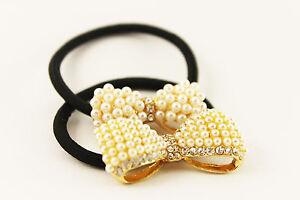 Kleidung & Accessoires Sonnig Haargummi Zopfhalter Haarband Drill Schleife Perlen Strass Gold Haarschmuck A047 Haarschmuck