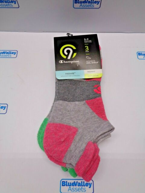 Champion Women's Heel Shield FreshIQ Socks 3 Pairs 5-9 Training Ventilation S1N