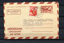 Österreich Luftpostbrief 1961 nach England. Aerogramm    (#298)