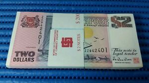 ZZ Singapore Ship Series $2 Note ZZ942401-ZZ942500 Run Dollar Banknote Currency