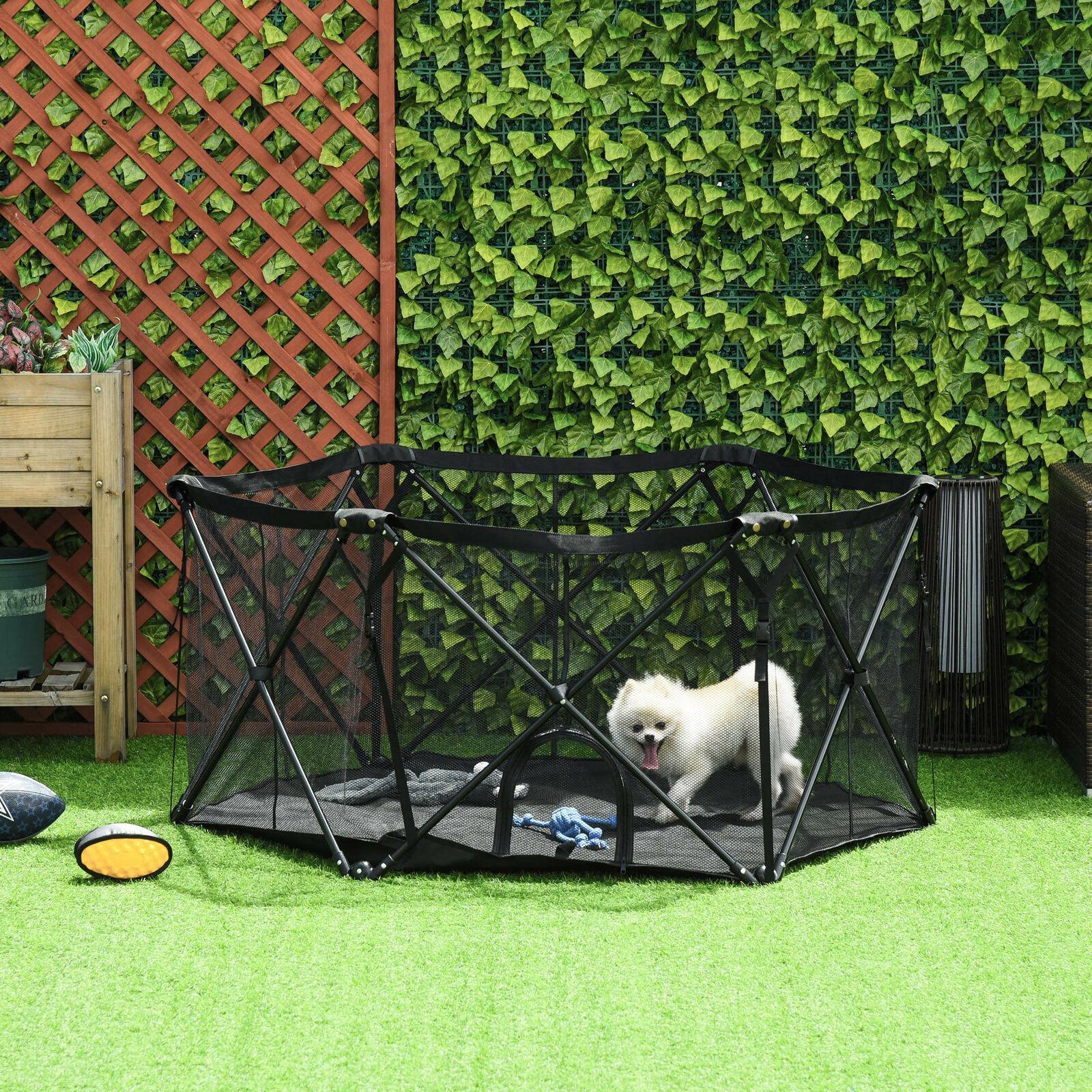 Parque para Mascotas Plegable Acero con Bolsa de Transporte 148x134x67 cm Negro