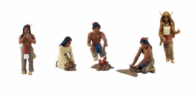 O/On3/On30/1:48th FIGURES - SET OF 5 - Native American Indians - PREPAINTED
