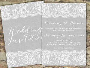 Image Is Loading Personalised Rustic Burlap Amp Lace Grey Wedding Invitations