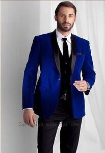 Men Blue Velvet Coat Jacket Blazers Designer Grooms Wedding Tuxedo