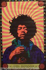 Jimi Hendrix 22x34 Blacklight Poster 60's Original Funhouse Colors