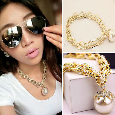 Hot Pearl Chain Crystal Collar Chunky Statement Bib Charm Pendant Necklace