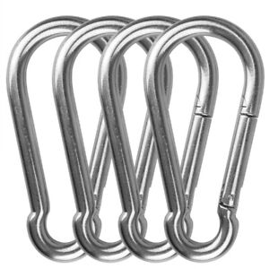 Gym Equipment 304 Stainless Steel Outdoors Clips Load 660 lb Weight Strong Spring Snap Hook for Climbing Punching Bags Swing Chairs Hammocks 4 Pack 5.5 inches Heavy Duty Carabiners Hook