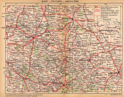 Poitiers Niort SÈvres Angoulême 1922 Old Vintage Map Plan Chart Durable Modeling Loyal Deux