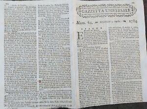 1784-GAZZETTA-UNIVERSALE-GUERRA-SPAGNOLA-ALGERIA-MONGOLFIERE-A-ROMA-E-COCKZIM