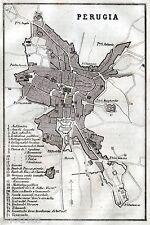 Pianta di Perugia. Carta Topografica. Ronchi. Stampa Antica + Passepartout. 1866