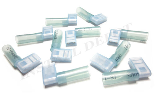 """25 BLUE 3M HEAT SHRINK FLAG TERMINALS WIRE CONNECTORS RIGHT ANGLE 16-14 AWG 1//4/"""""""