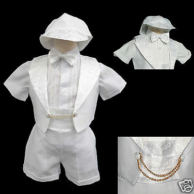 New Born Baby Boy Infant Christening Baptism Formal Tuxedo Suit White 0-5(0-30M)