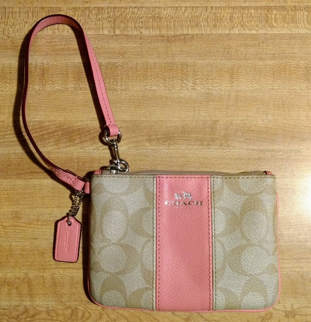Coach PVC Small Zip Wristlet Signature C Leather Stripe Khaki & Pink F52860