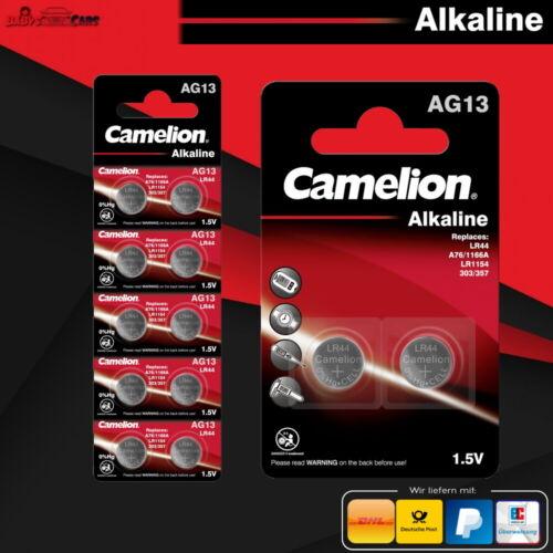 Camelion Knopfzellen Uhren-Batterien AG13 LR44 A76/1166A LR1154 303/357 Alkaline