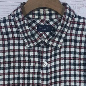 Mens-Paul-Smith-Jeans-Heavy-Flannel-Gingham-Plaid-Check-Shirt-Size-Large