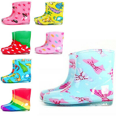 Children's Rain Boots Fashion Candy Colored Cute Pattern Waterproof Shoes Q05