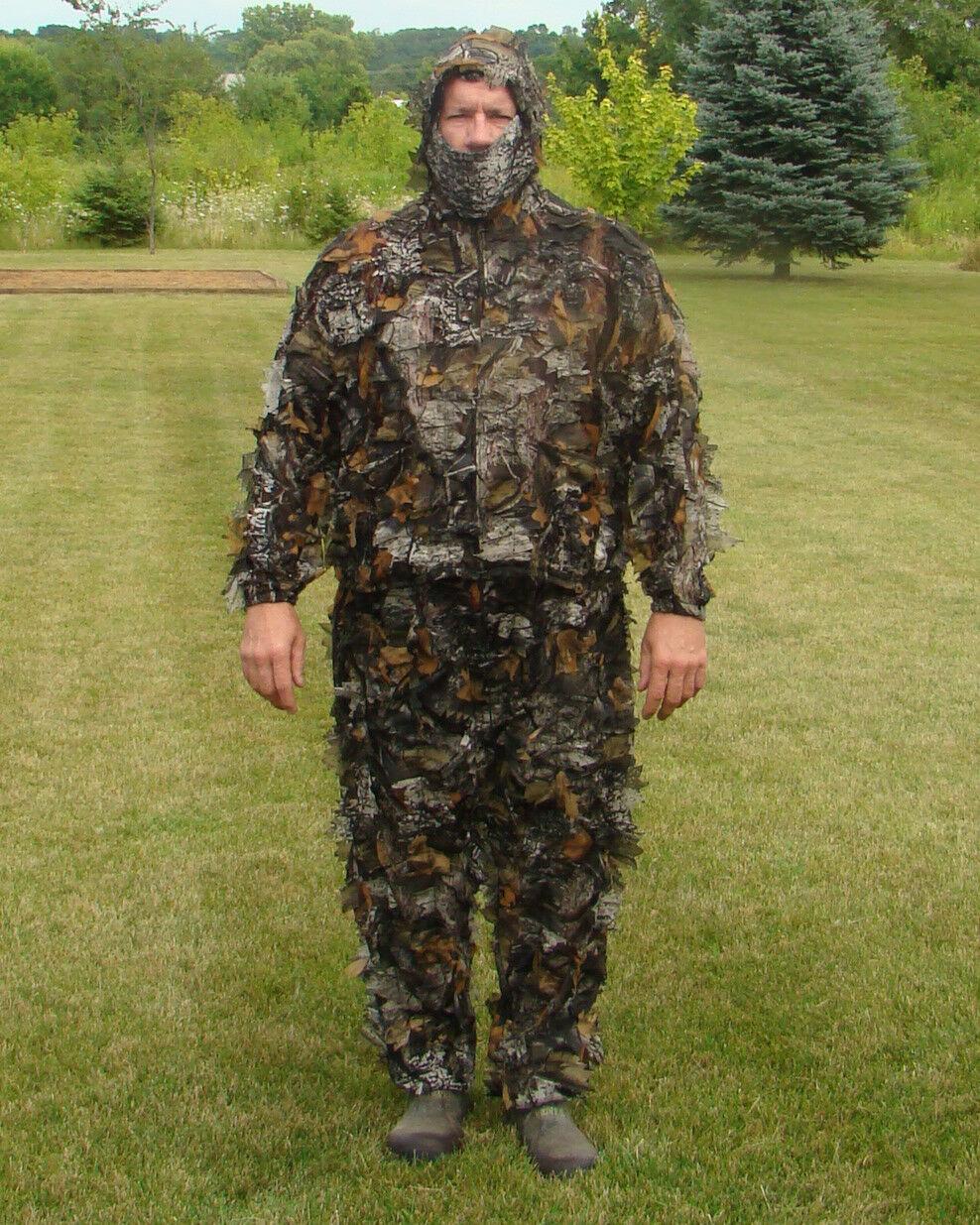 3-D Leafy Camoflauge Deer   Turkey Hunting Ghillie Suit 3 pc set  M L-XL 2X-3X 4