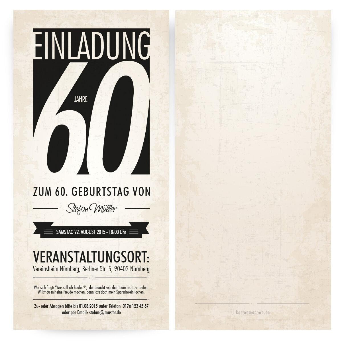 Einladungskarten zum Geburtstag Monochrom edel Schwarz Weiß Vintage Retro