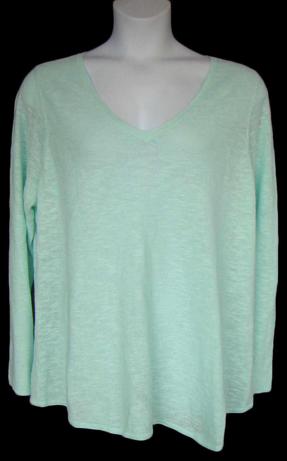 EILEEN FISHER Storlek 3X Pale Aqua Organic Linen Cotton Pulver tröja NWT