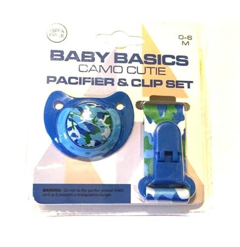 Baby Basics Camo Cutie Orthodontic Pacifier & Lanyard Clip Set Water Camouflage