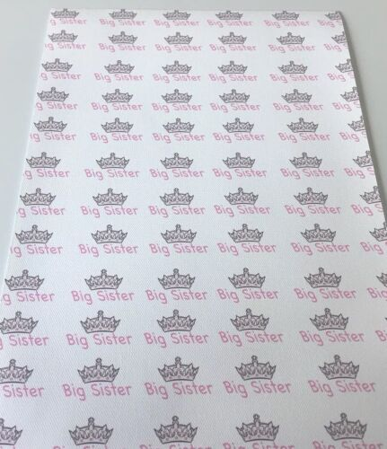 Big Sister crown Printed Canvas Fabric A4 Hair Bow Making Fabric Material