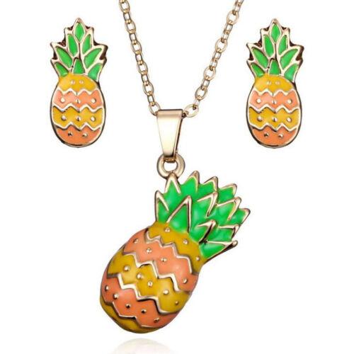 Yellow Orange Green Pineapple Gold Fashion Jewellery Set Necklace Earrings S985