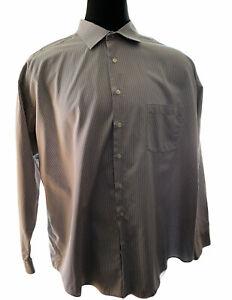 Pronto Uomo Men's 3x Long Sleeve Dress Shirt Gray/white Checked EUC