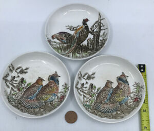 Johnson-Brothers-Pheasants-Grouse-Birds-Made-in-England-4-034-Small-Plates-Lot-of-3