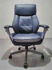 New Listingla Z Boy Alton Leather Executive Office Chair Steel Bluelight Gray With Warranty