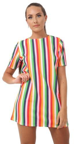 Nouveau Femme à manches courtes rainbow à Rayures Imprimé Crinkle Mini Shift Robe Haut Tunique