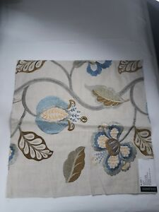 Details About Fabric Sample Designer Gp J Baker Elvaston Indigo Embroidered Bf 10532 1